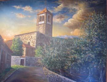 La Iglesia Parroquial donde se escuchó a Mozart, según versión del pintor local Juanra