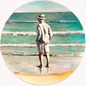 El Hompre Perplejo ante la infatigable inmensidad del mar, según versión del artista WaterI