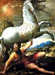 Incluso los más virtuosos necesitan alguna vez una caída del caballo para darse cuenta de que quizás el suyo no es el  camino de la perfección... (La Conversión de San Pablo según Il Pamiglianino)