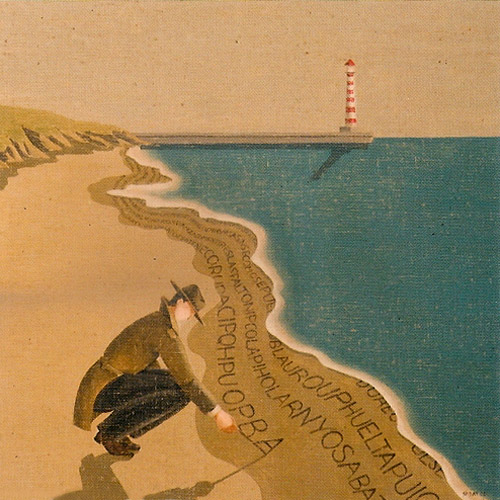 Como sugiere este cuadro de Jordi Sàbat, hay que buscar palabras hasta en el mar, porque ellas lo explican todo...